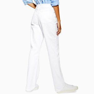 TOPSHOP High Rise Relaxed Fit White Denim Jeans